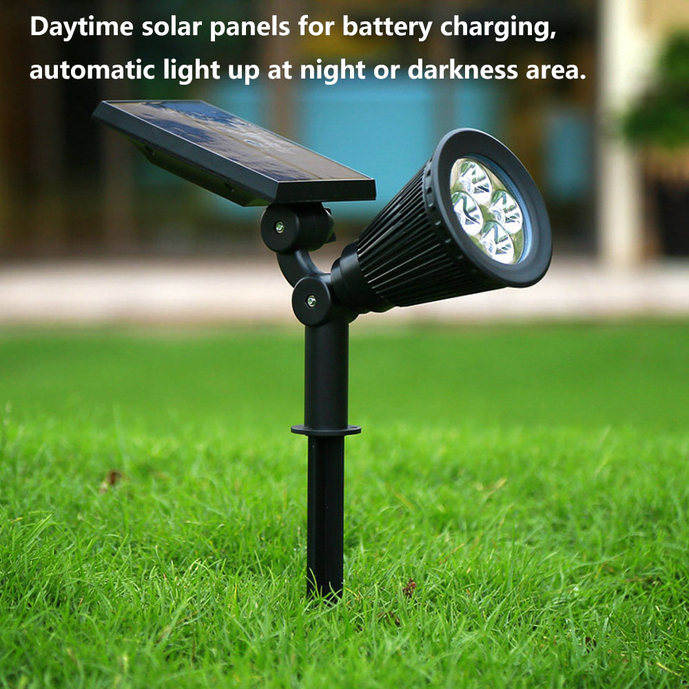 Solar Spotlight Lawn Flood Light Outdoor Waterproof Garden 4 LED Wall Lamp