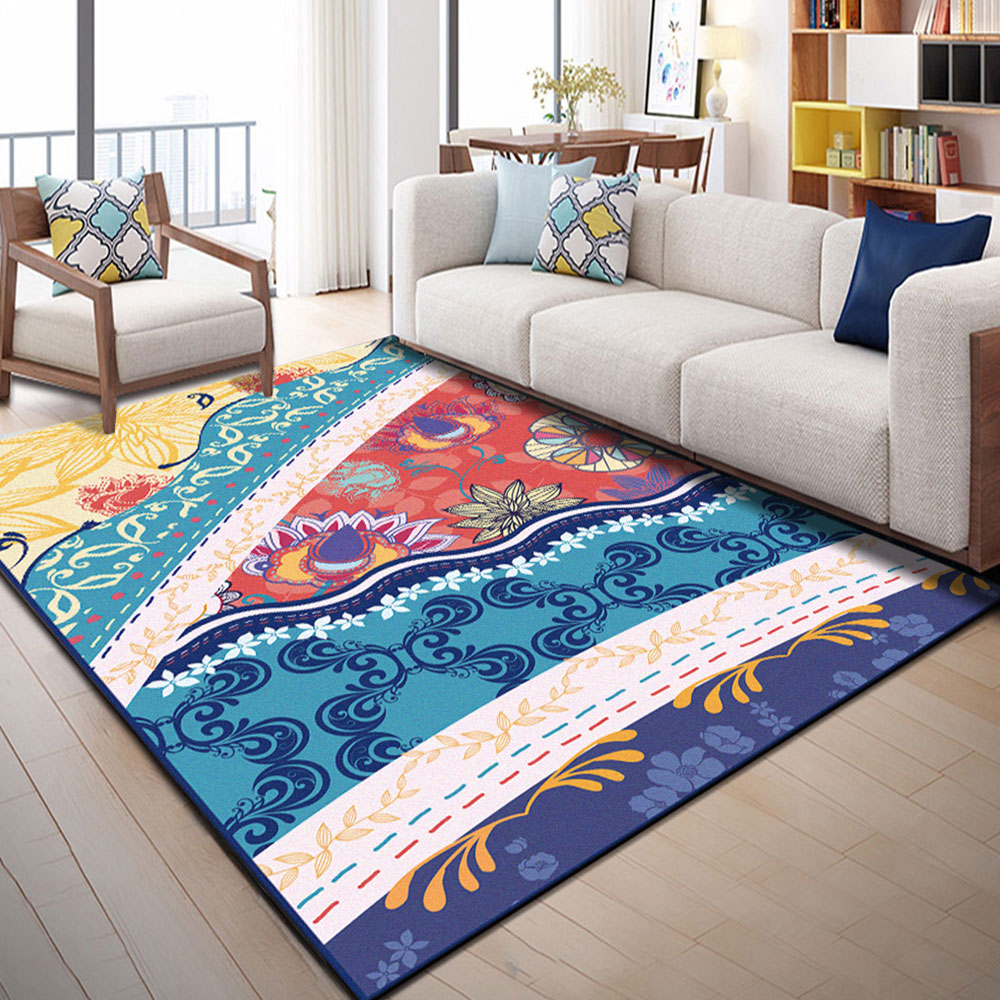 Yellow Blue and Red Printing Bedroom Bedside Blanket Super Soft Carpet Machine