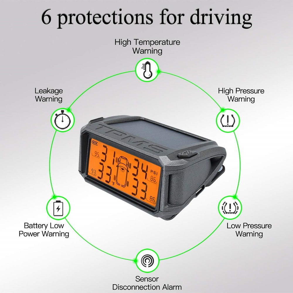 WINVE-T8B Solar Wireless Tire Pressure Monitoring System With 4 Built-In Sensor