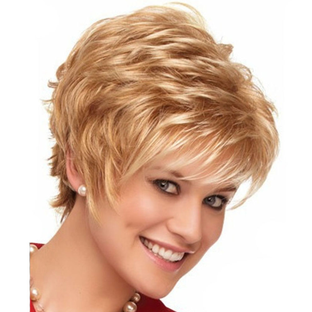 Light Gold Micro Curly Fluffy Short Wig