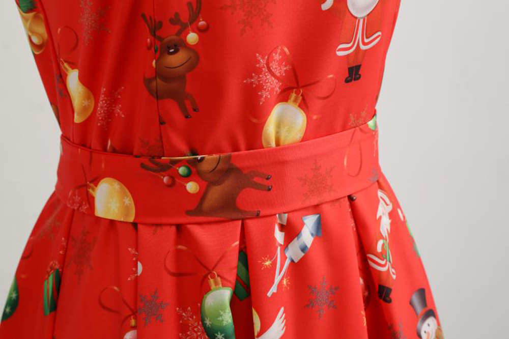 2018 New Christmas Print Long Dress