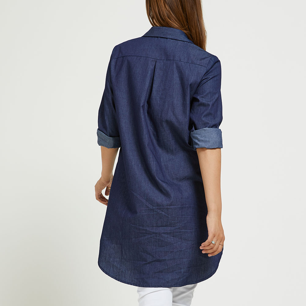 SBETRO Denim Colored Shirt with Single-breasted Button Long Sleeve Autumn Women