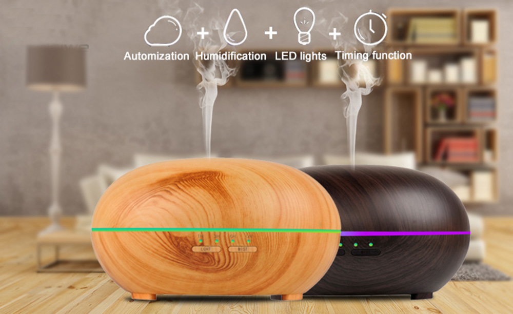 300ml Wood Grain  Air Humidifier Ultrasonic Aroma Diffuser LED Night Light