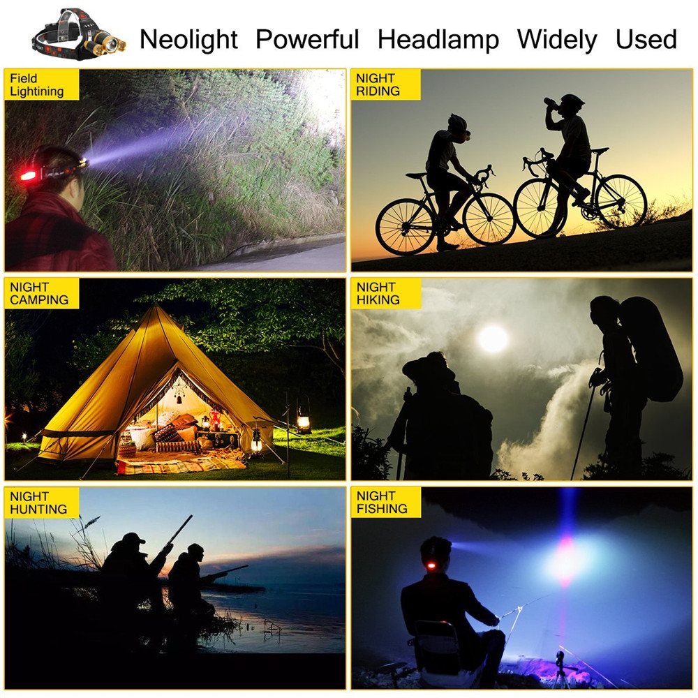 YWXLight 30W LED Headlamp Waterproof Helmet Light for Camping Hiking Outdoor Sports