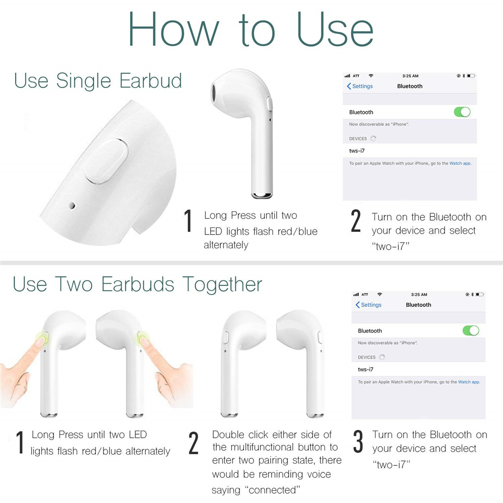 i7S TWS Earphones Dual Wireless Bluetooth Earbuds for iPhone 6/7 Plus/X/Samsung