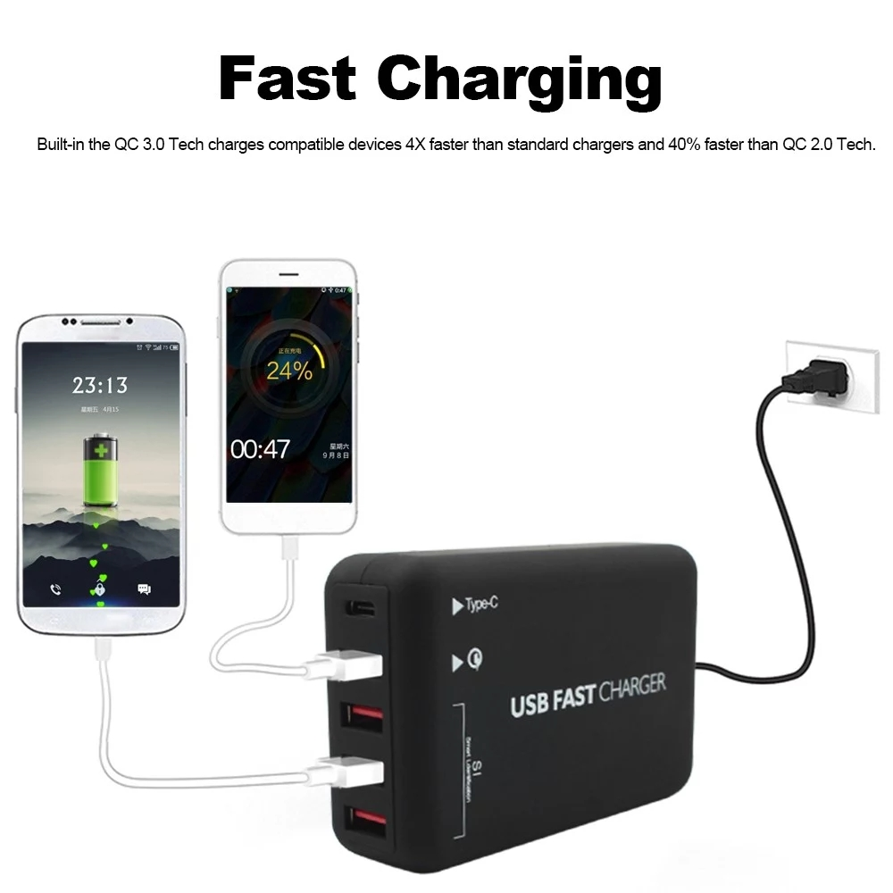 Quick Charge 3.0 5-Port 6A USB Desktop Charger 2-Port Type-C Adapter Hub Multi