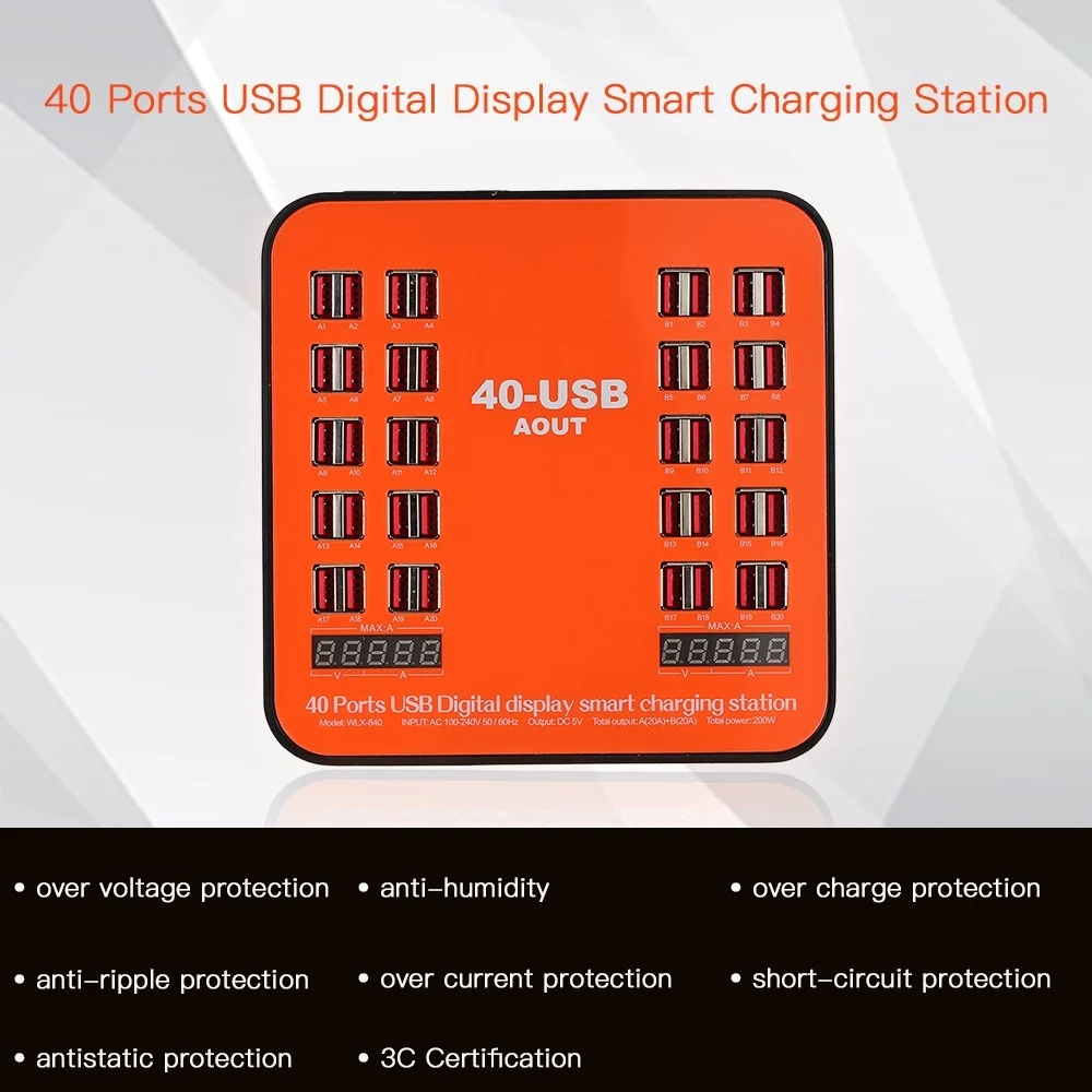 USB Wall Charger 200W 40-Port Dual Digital Display Smart Charging Station