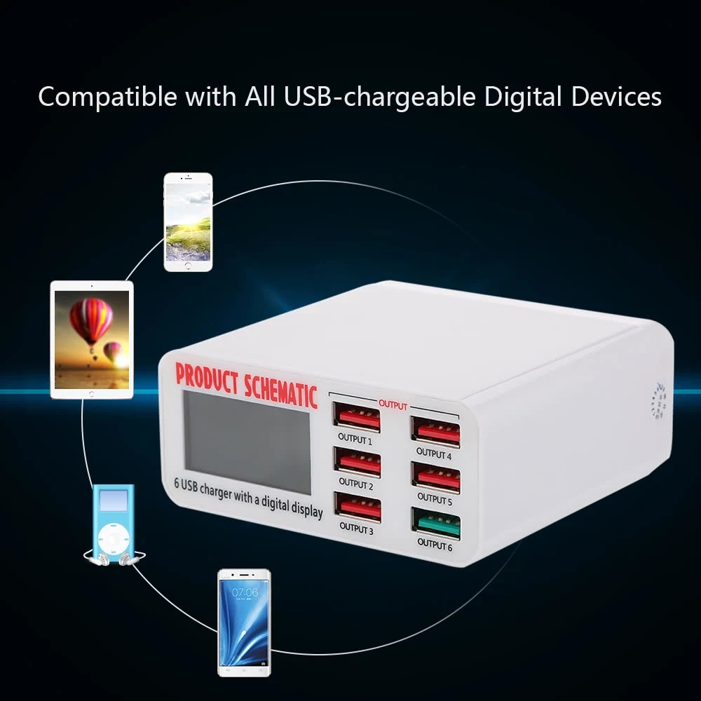 Quick Charge 3.0 6-Port 6A USB Desktop Charger Adapter Hub Multi Port USB Wall