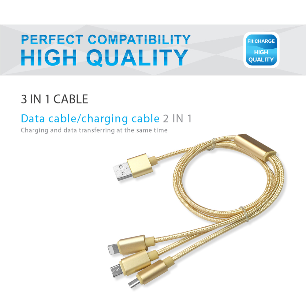 SDL 3 in 1 Micro USB + 8 Pin + Type-C Data Charging Cable - 1M