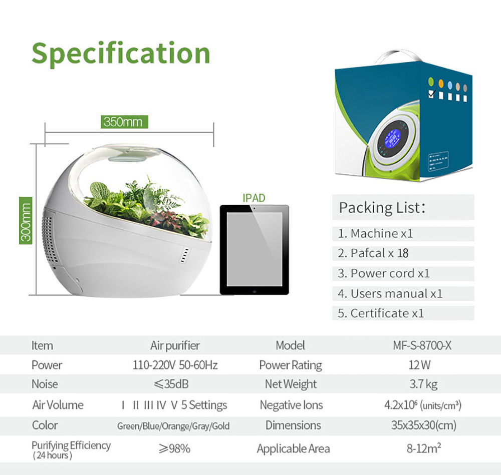Desktop Air Purifier with HEPA Filter Activated Carbon Filter and Negative Ions
