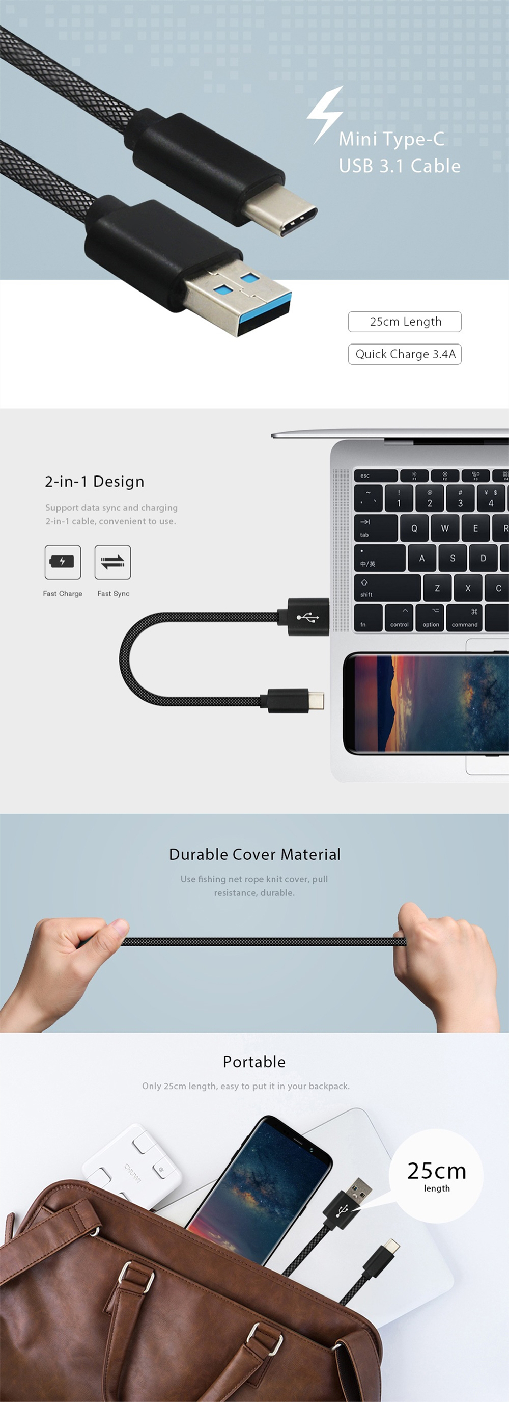 3.4A Quick Charge USB 3.1 Type-C Charging / Data Transfer Cable (25cm)