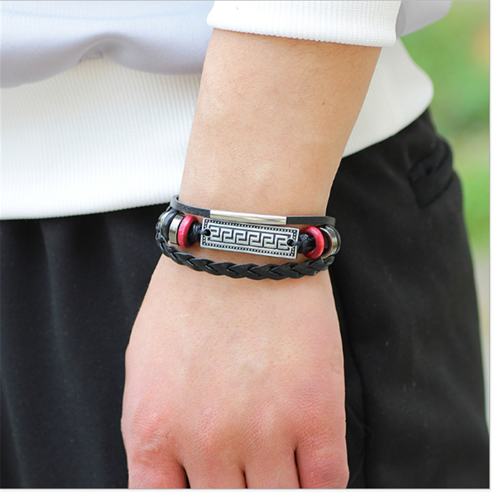 Retro Alloy Accessories Leather Bracelet