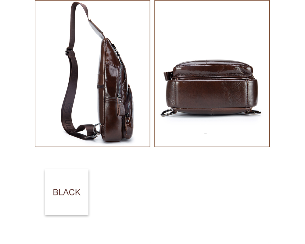 The Young Men'S Leather Chest Baotou Leather Shoulder Messenger Bag Anti-Theft Lock Chest