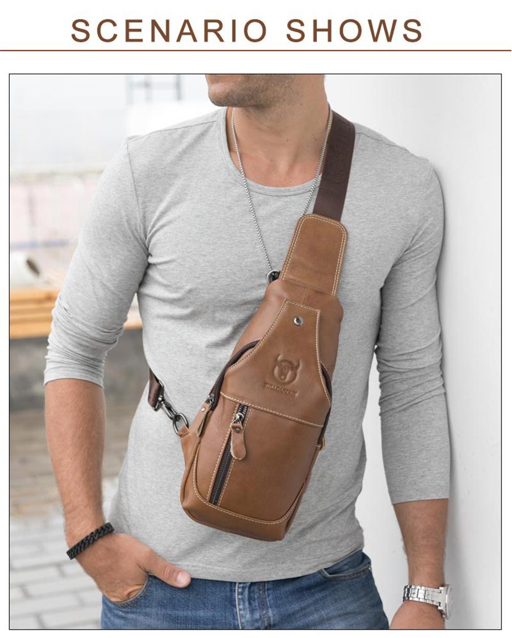 Oil Wax Chest Pack Male Leather Shoulder Messenger Men'S Casual Leather Hanging