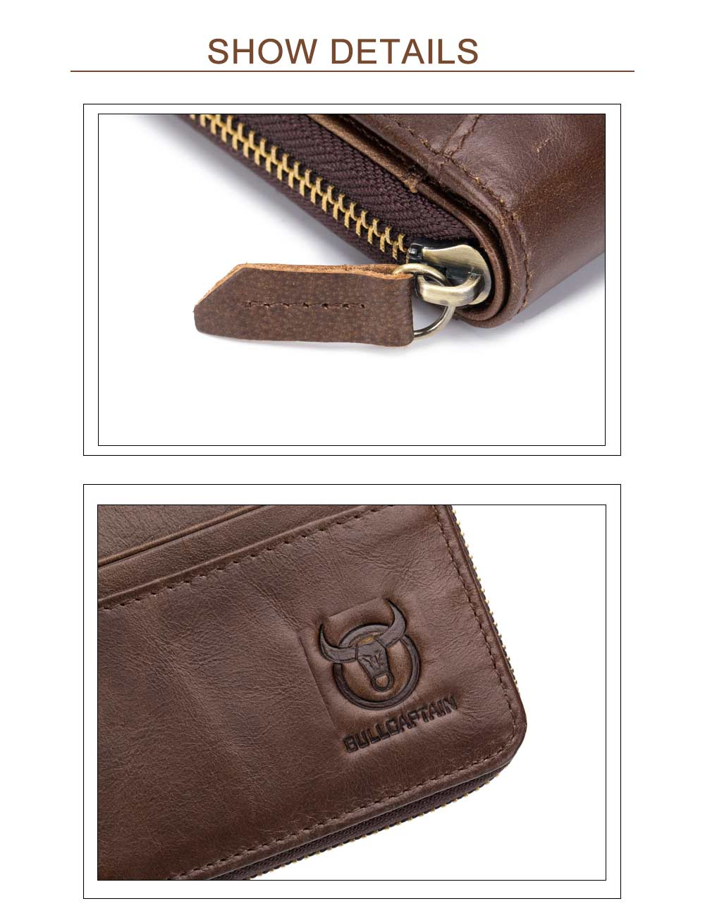 The Cow Ceather New Head Layer Cowhide Multi-Function Card Three Folding Driving License A Zipper Leather Wallet