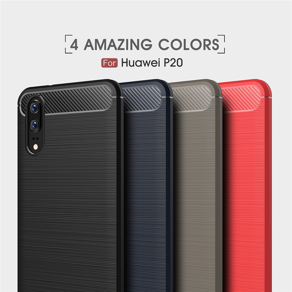 Case for Huawei P20 Shockproof Back Cover Solid Color Soft Carbon fiber