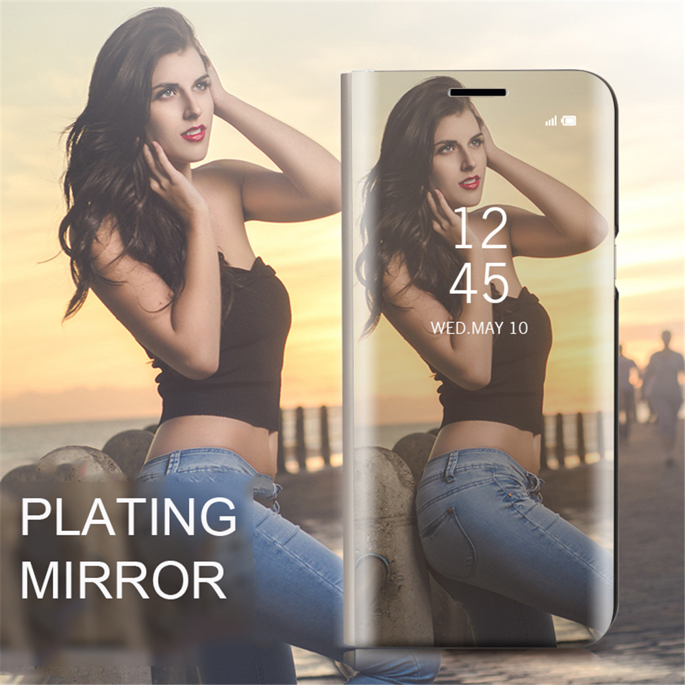 Case Cover for Samsung Galaxy A5(2018) With Stand Plating Mirror Flip Full Body Solid Color Hard