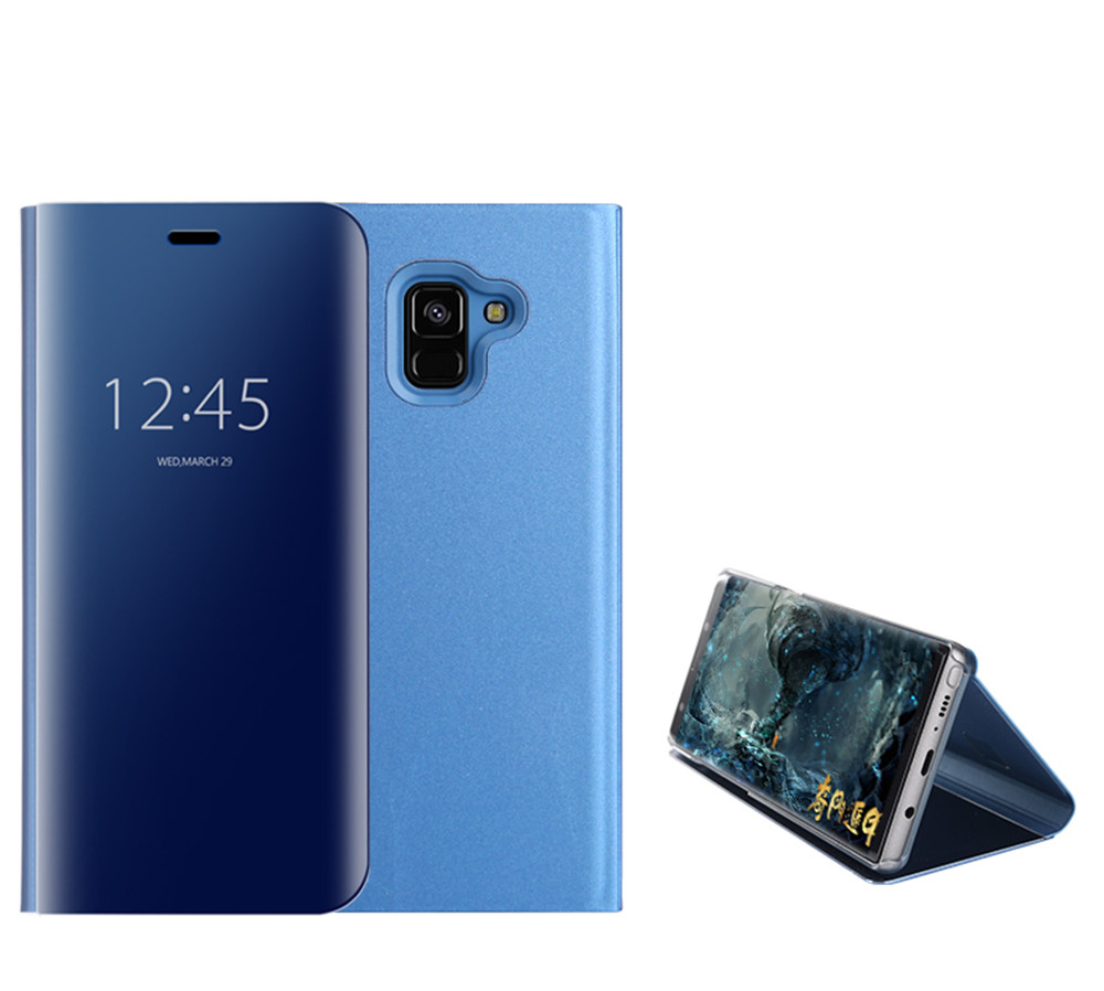 Case Cover for Samsung Galaxy A7(2018) With Stand Plating Mirror Flip Full Body Solid Color Hard