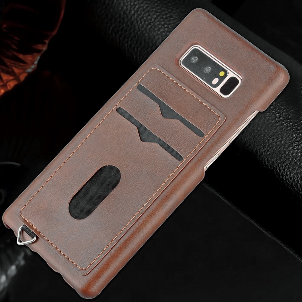 Card Holder Back Cover Solid Color Hard PU Leather Case for Samsung Galaxy Note 8