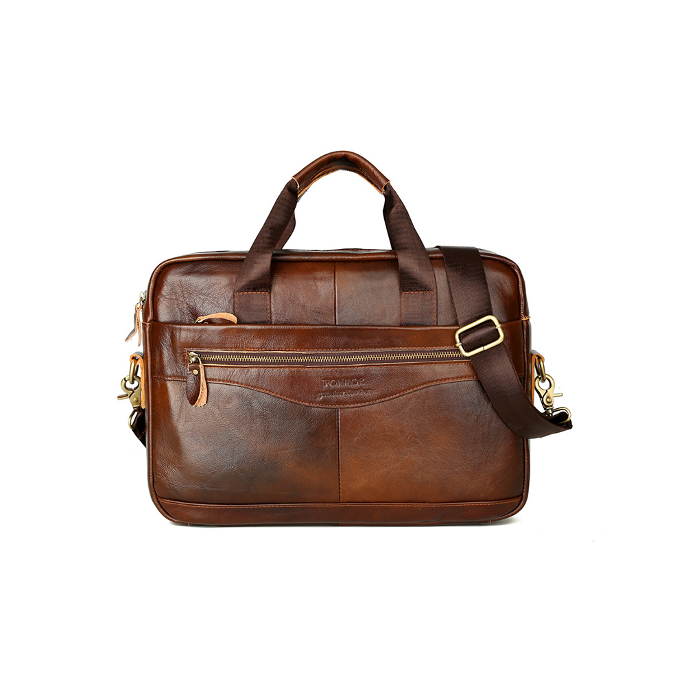 FONMOR Men Genuine Leather Briefcases Handbag Cowhide Business Laptop Bag