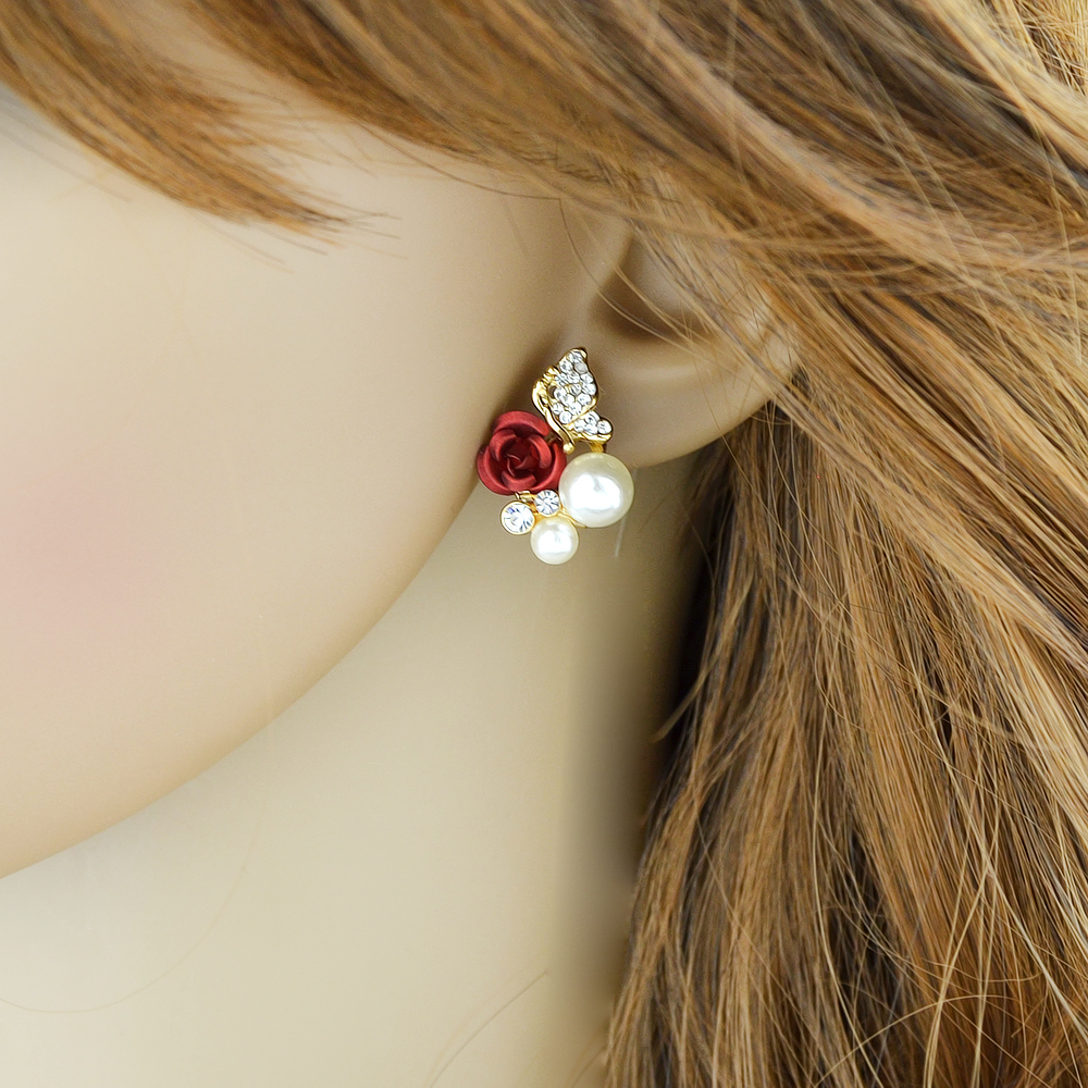 Rhinestone Simulated-pearl and Flower Shape Flower Earrings