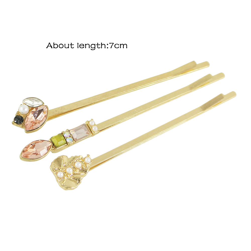6pcs Simulated-pearl Colorful Crystal Flower Barrettes Hairpin