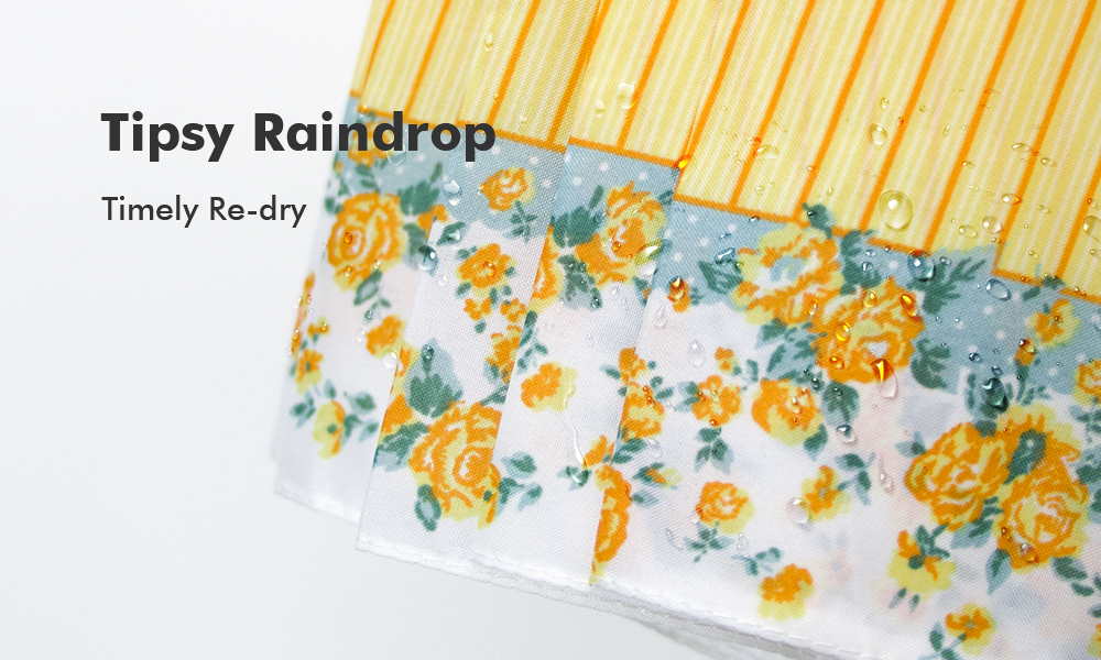 Trendy Floral Stripe Super Windproof Umbrella Wood Travel Brolly Ladies