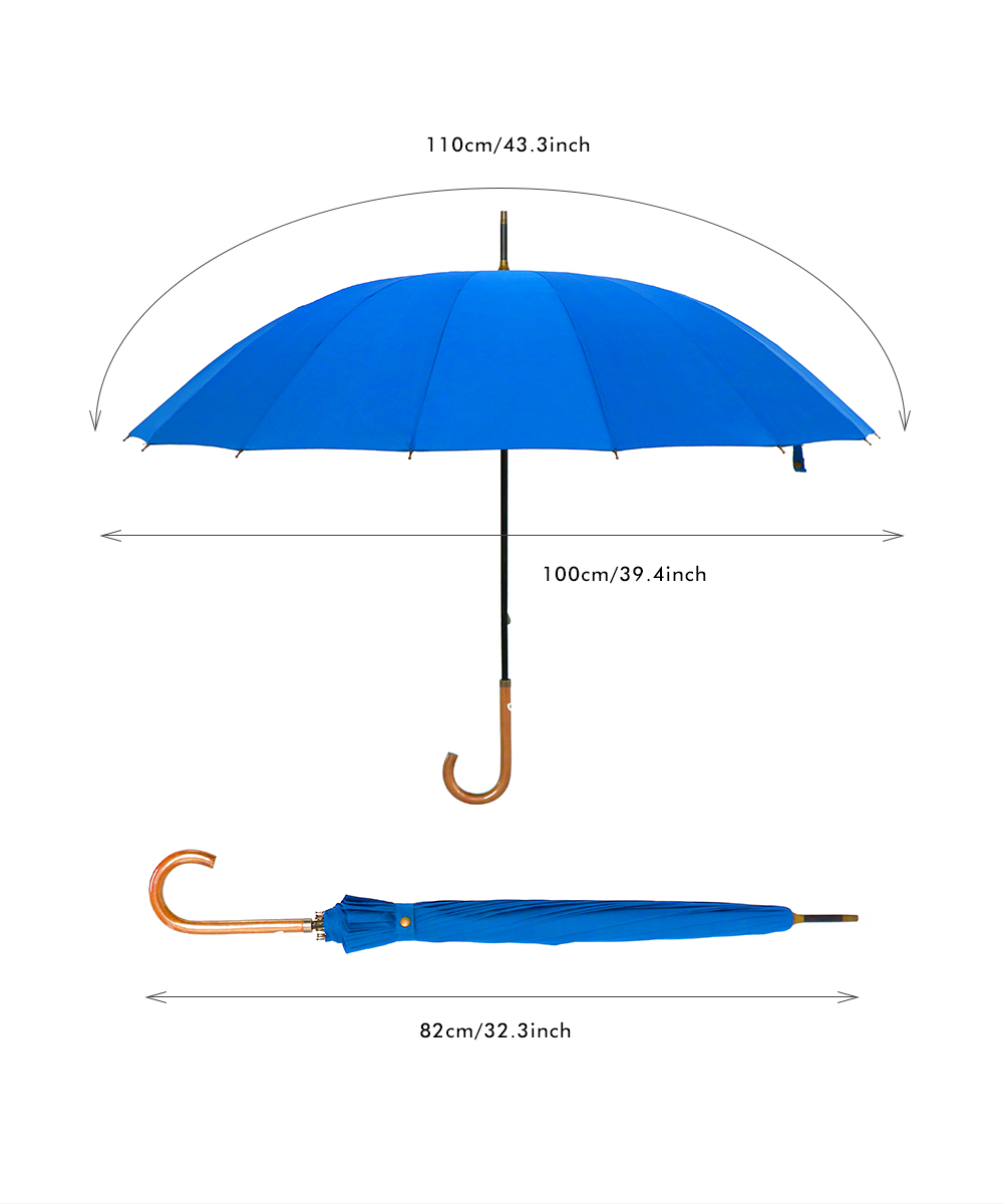 European Windproof Rain Umbrella Large Stick Crook Umbrella for Men and Women
