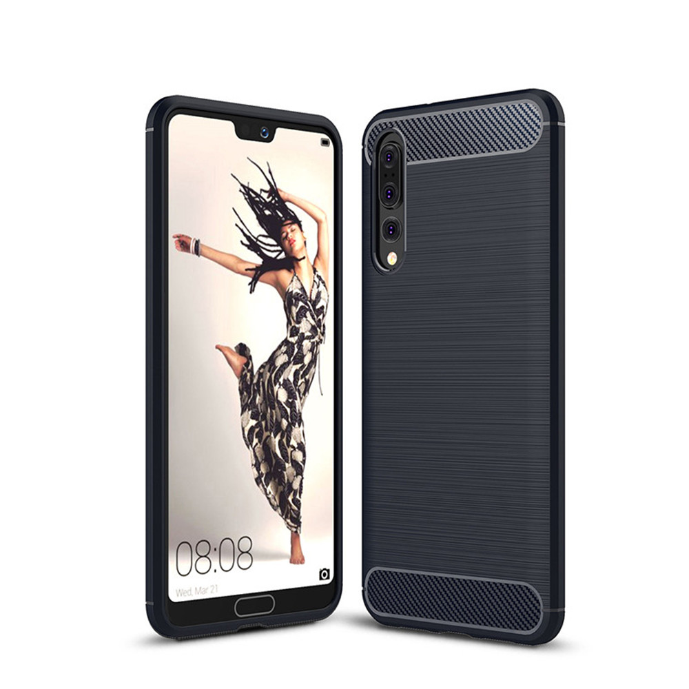 Cover Case for Huawei P20 Plus Shockproof Carbon Fiber TPU Drawing Material Phone