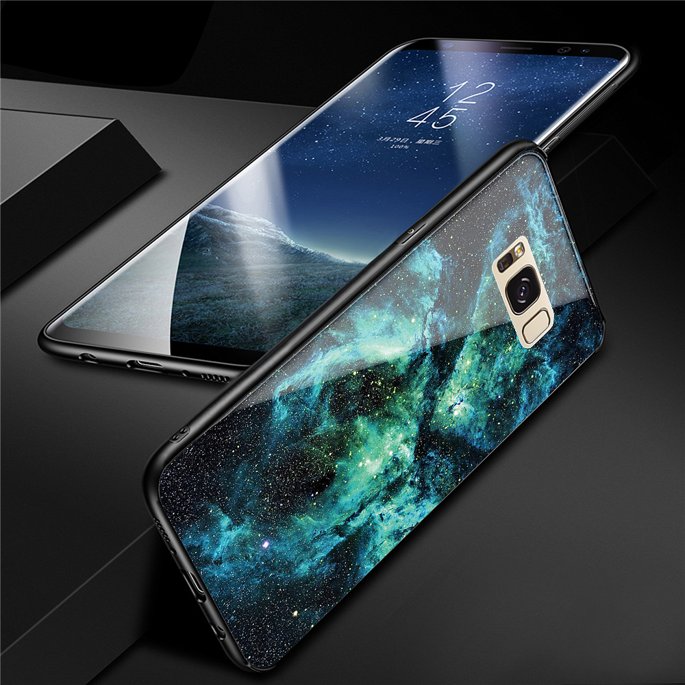 Cover Case for Samsung Galaxy S8 Fashion Colorful Starry Sky Pattern Toughened Glass