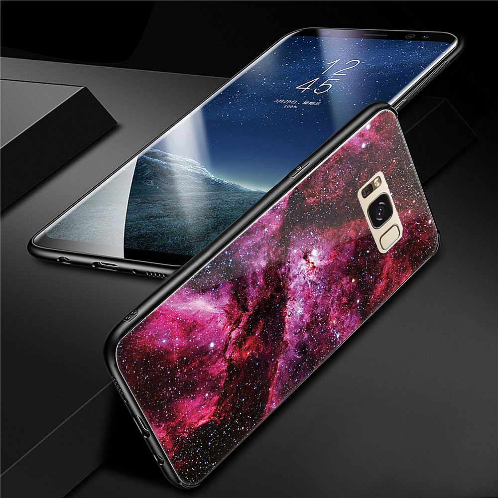 Cover Case for Samsung Galaxy S8 Plus Fashion Colorful Starry Sky Pattern Toughened Glass