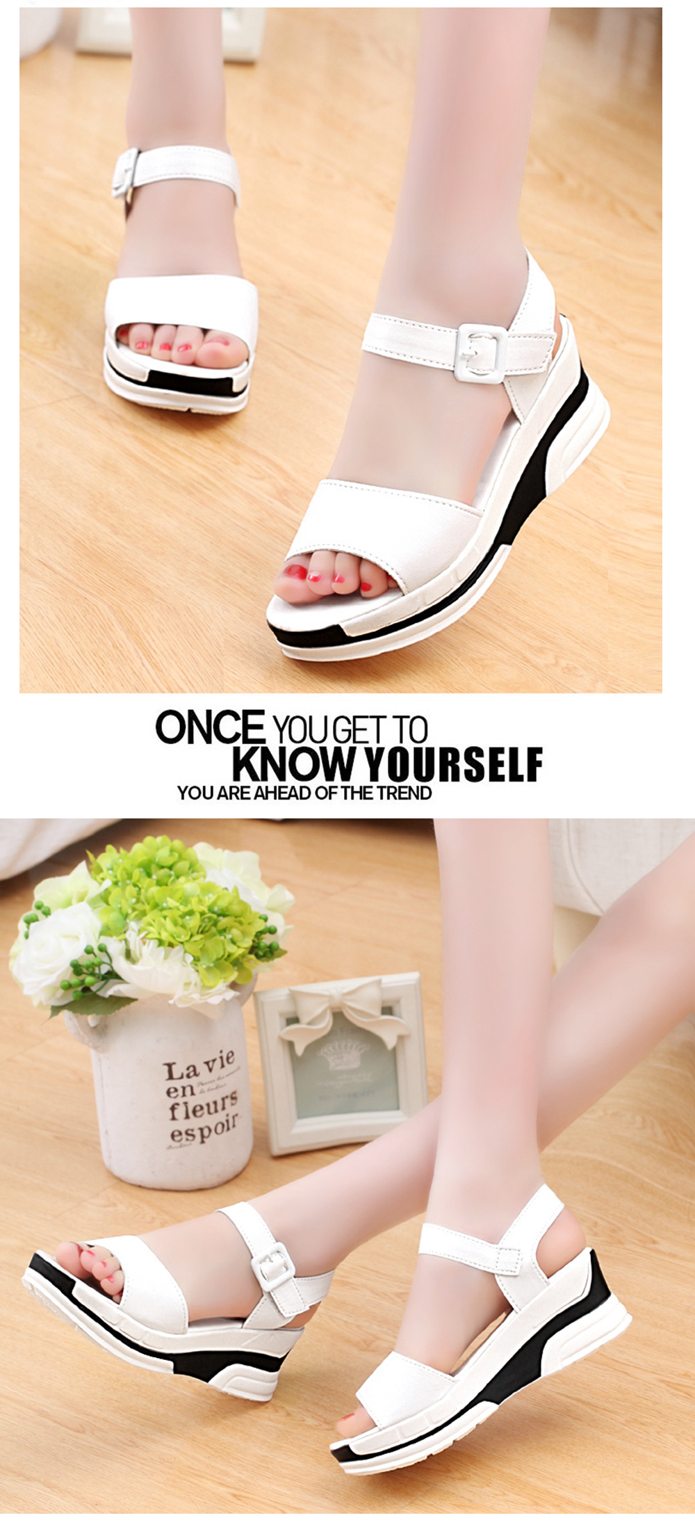 Women Summer Casual Flat Thick Sandals PU Leather Waterproof Shoes for Ladies
