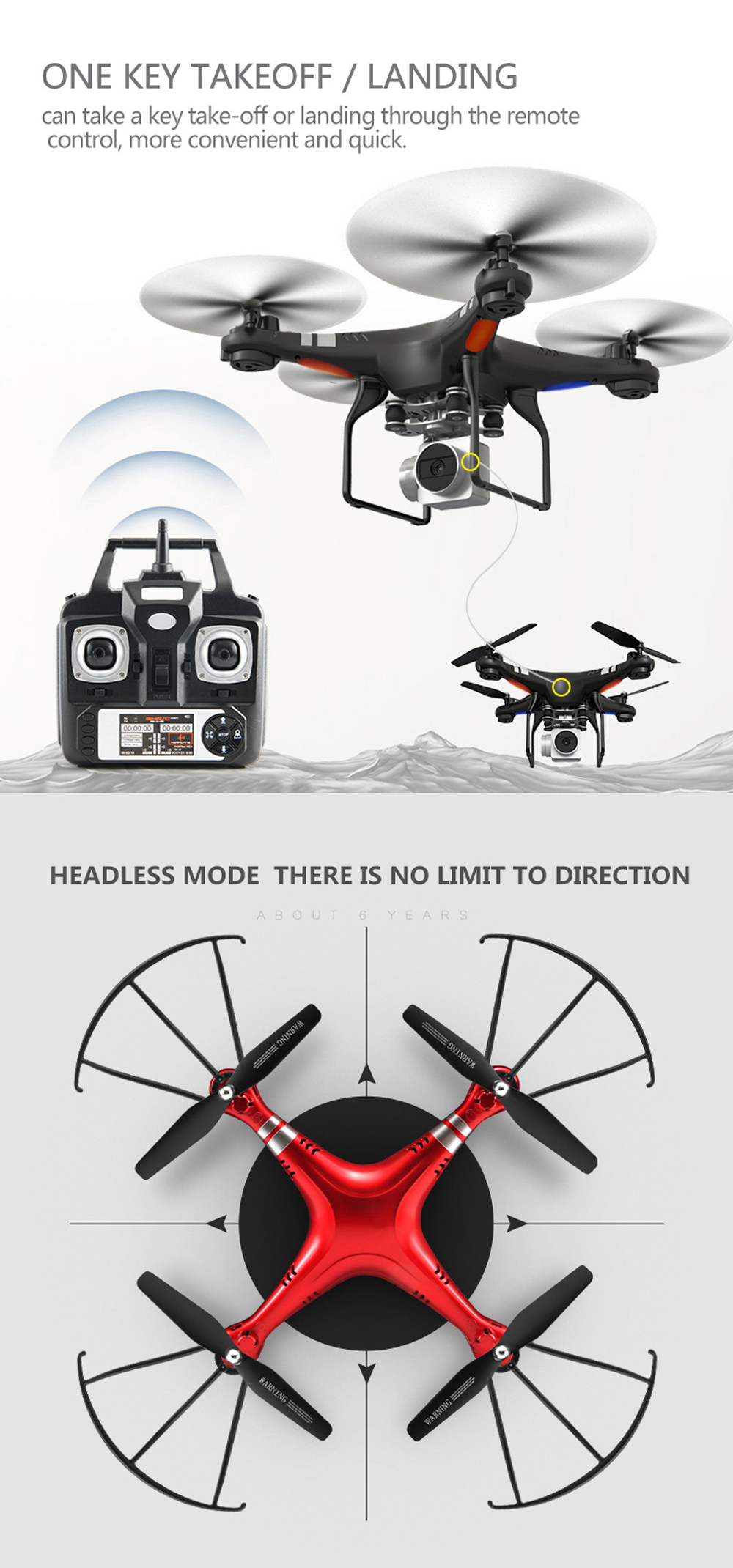 X52HD RC Drone RTF with 720P HD Camera / One Key Auto Return / Height Holding