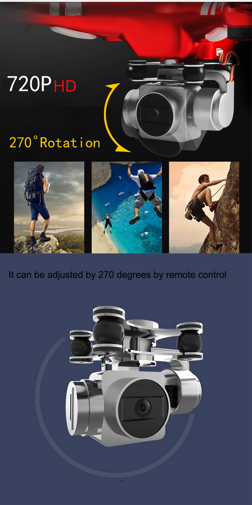 RC Drone With 720P HD Camera RC Quadcopter PTZ Control Height Holding  One Key To Auto-Return