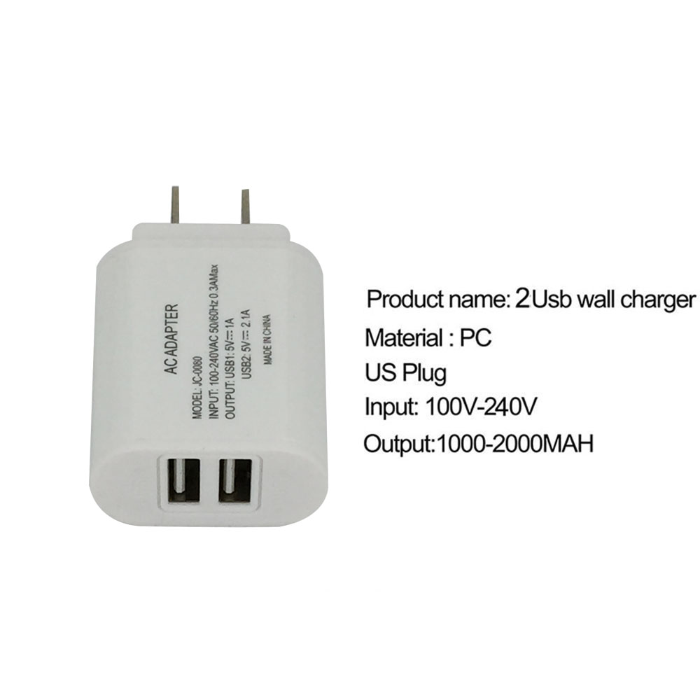 2USB Wall Charging Charger US Plug 2.0A AC Power Adapter Wall Charger