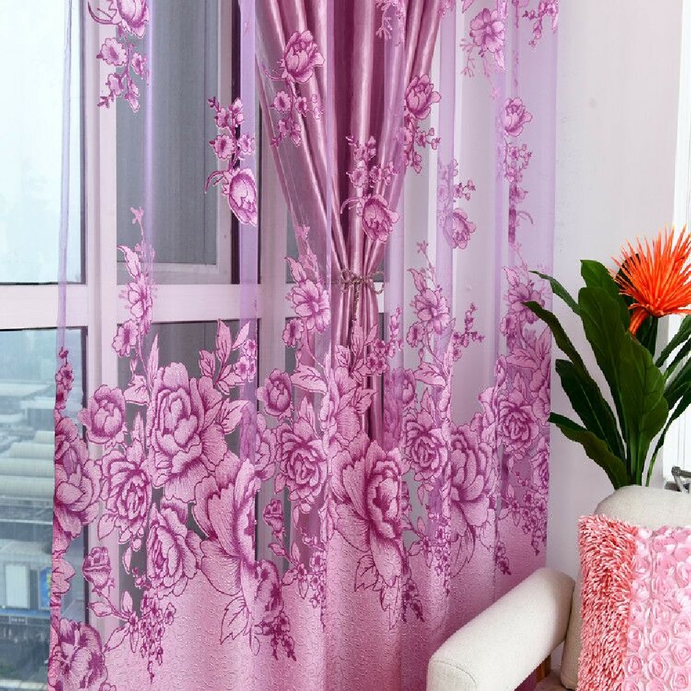 38 Off Purple Flower Peony Modern Bedroom Curtains