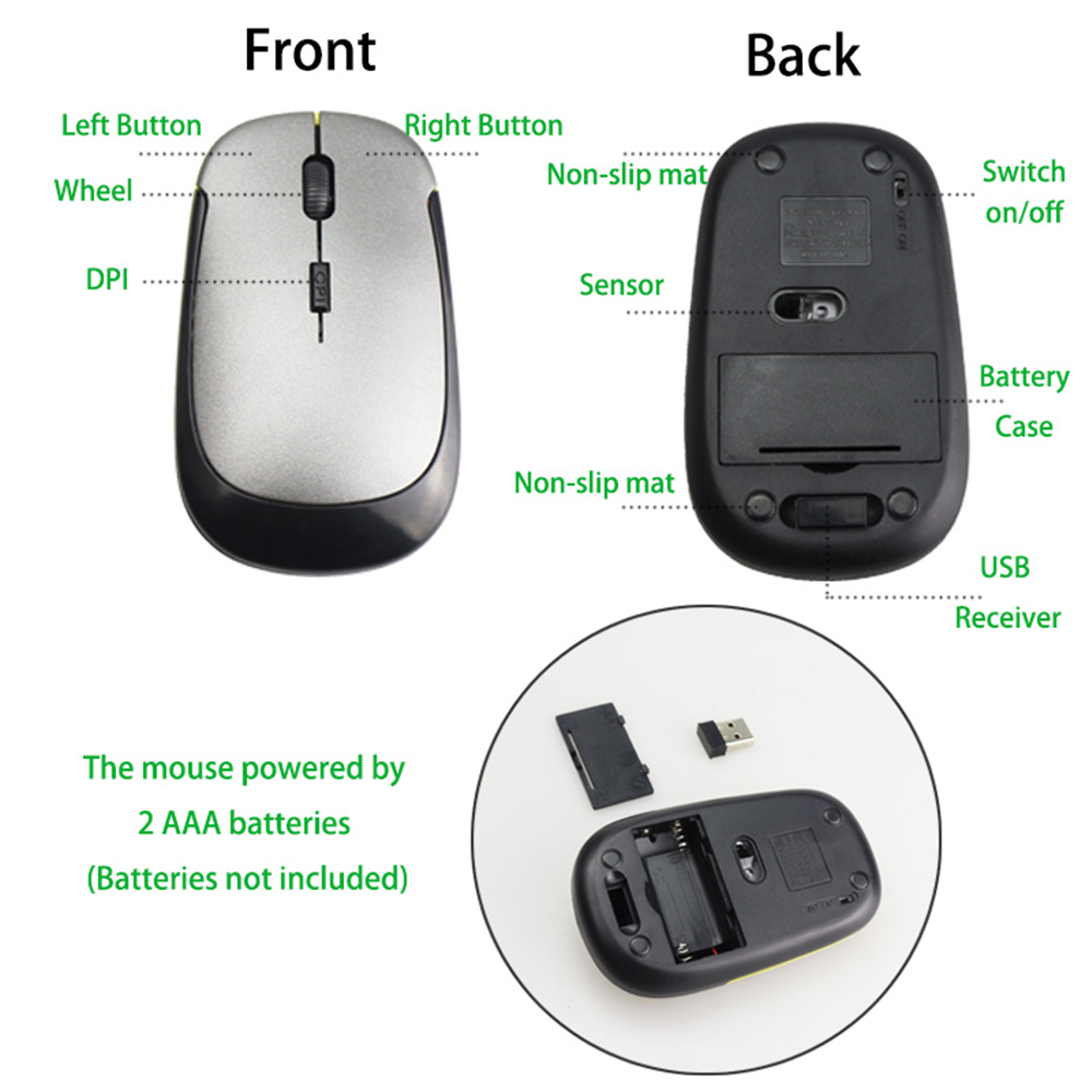 Ultra-Slim Mini USB 2.4G Wireless Mouse Optical for PC Laptop Desktop