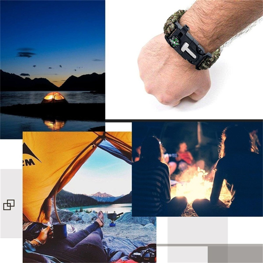Survival Bracelet Outdoor Emergency  with Fire Starter Compass Whistle
