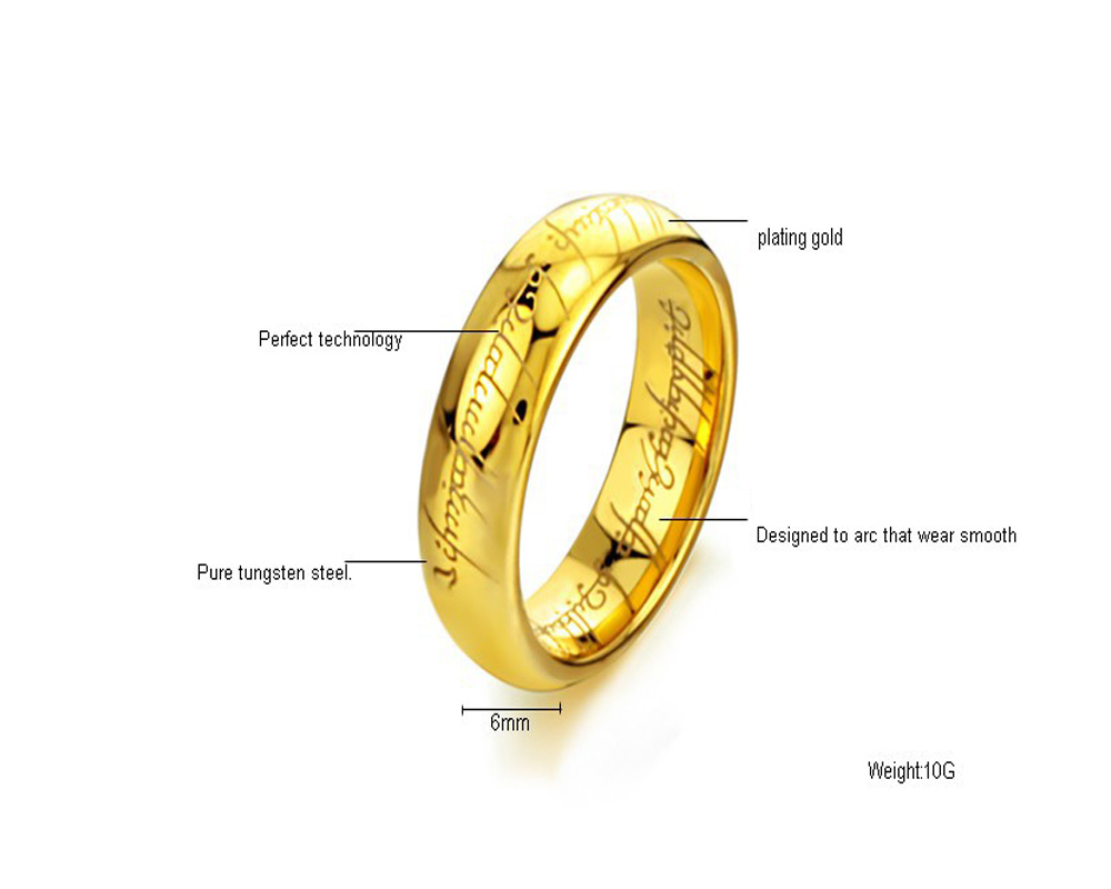 Fashion Jewelry The Lord of The Rings for Men 18K Gold Plating Stainless Steel Ring