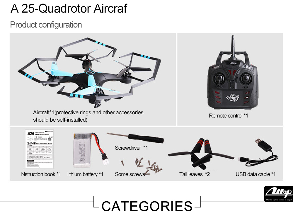Attop A25 Remote Control Aircraft / RC Drone RTF with Headless Mode / 360 Degree Flip / 6-axis Gyroscope