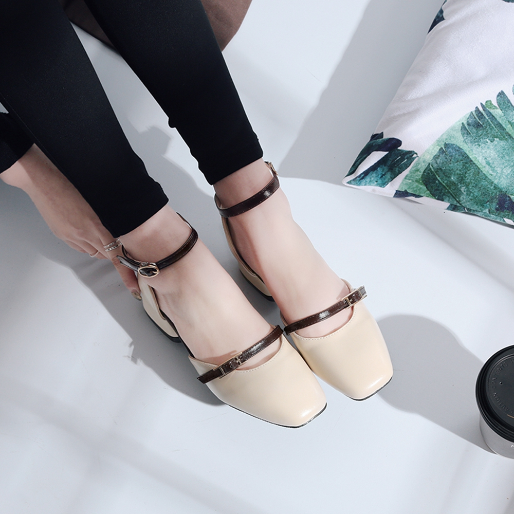 new Ladies Fashion Low Heel Leather Sandal