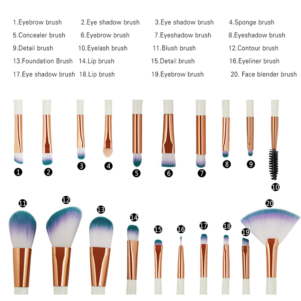 20 Shell Eye Make Up Brushes Beauty Tools
