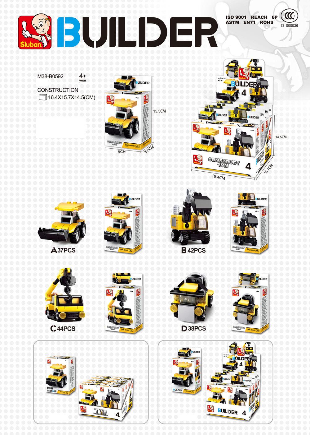 Sluban Building Blocks Educational Kids Toy Different Models 8PCS Construction Vehicles Set Creators (322 Granulum)