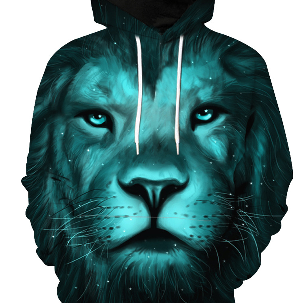 Fashion Lion Head Printed Hoodie