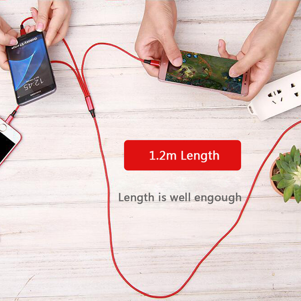 3 in 1 Nylon Braided USB Charge Cable Micro USB + 8 Pin + Type C