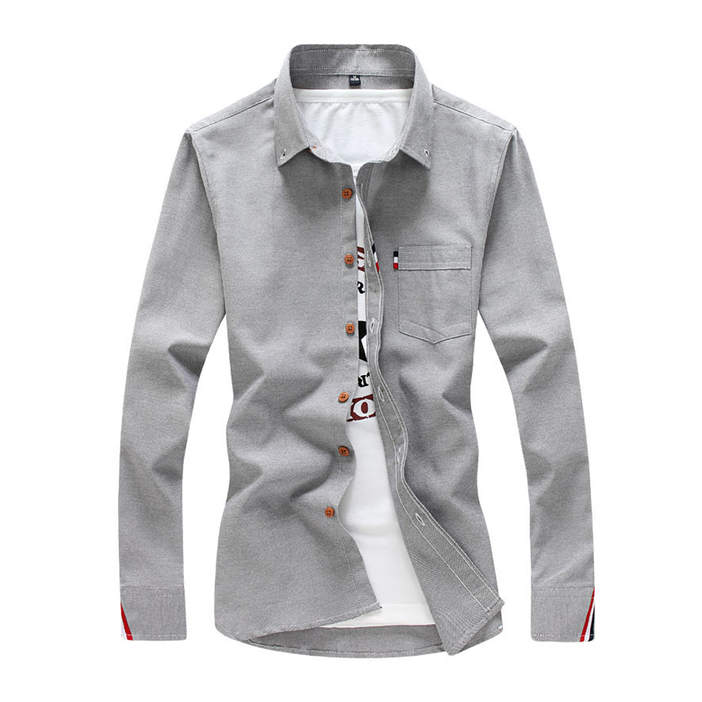 2018 Men's Solid Color Shirt Fashion Stripe Casual Long Sleeve Shirt