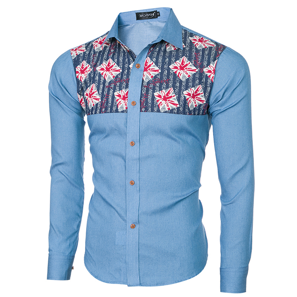 2018 Spring and Summer New Foreign Trade Boutique Men's Stitching Denim Long-sleeved Shirt