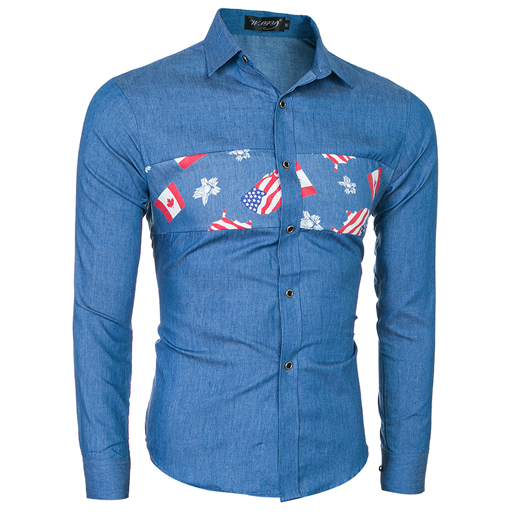2018 New Fashion Men's Stitch Long Sleeve Shirt