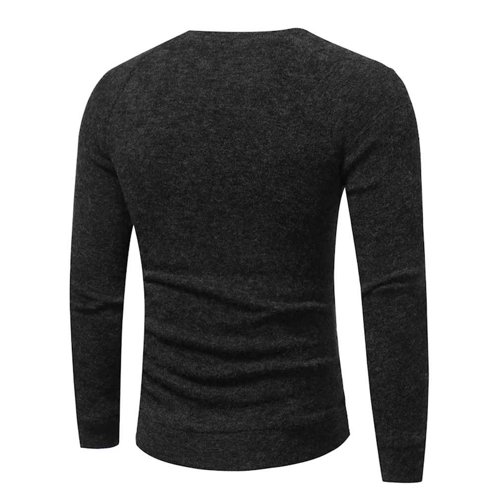 Men's New Fashion Button Stitching Solid Color Long-sleeved Knit Sweater