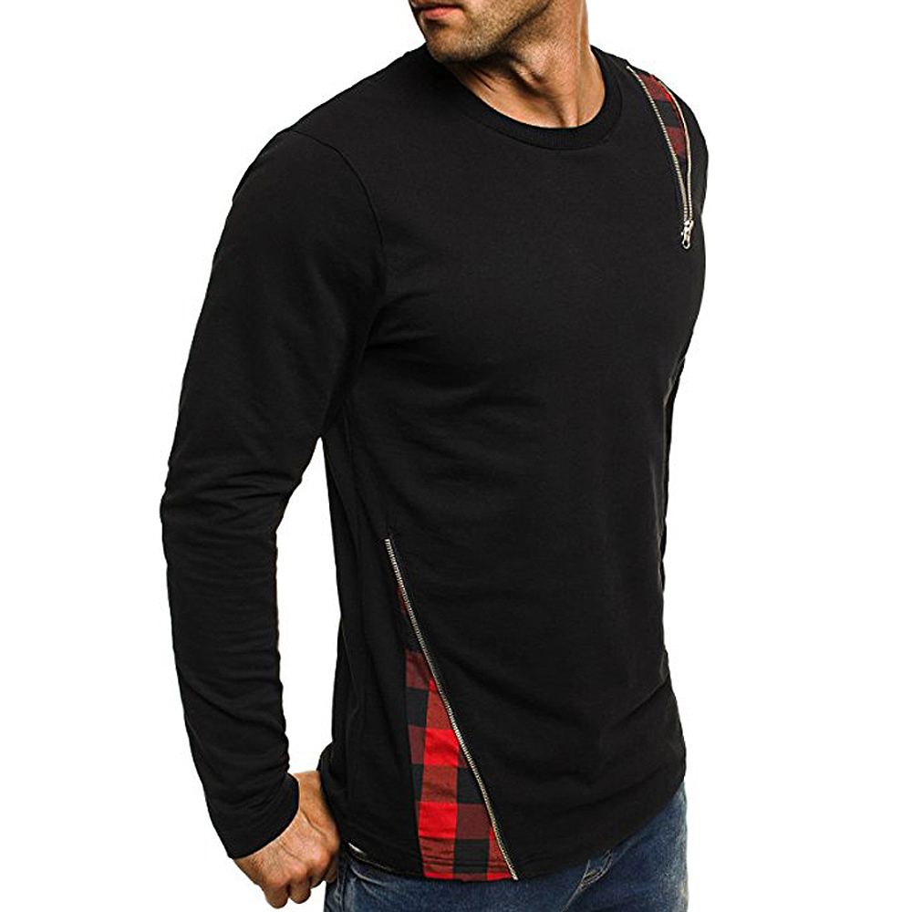 2018 Spring and Summer New Men's Personality Stitching Long-sleeved Round Neck T-shirt Bottoming Shirt